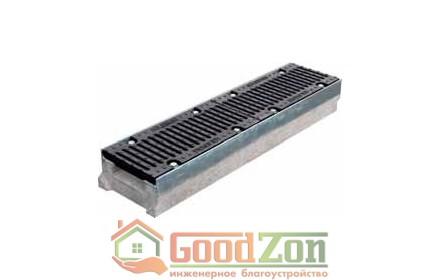 Лоток бетонный водоотводной 130 мм с чугунной решеткой в комплекте