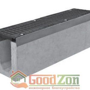 Лоток бетонный водоотводной 270 мм с чугунной решеткой в комплекте