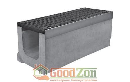 Лоток бетонный водоотводной 300 мм с чугунной решеткой в комплекте