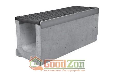 Лоток бетонный водоотводной 360 мм с чугунной решеткой